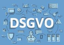 DSGVO, versione tedesca di GDPR, illustrazione di concetto di vettore Regolamento generale di protezione dei dati, la protezione  illustrazione di stock