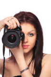 dslr απομονωμένη γυναίκα Στοκ φωτογραφία με δικαίωμα ελεύθερης χρήσης