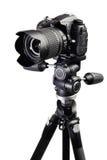 DSLR black camera on tripod Stock Image