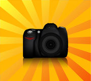 DSLR Camera. Isolated DSLR camera from front side with lens and built in flash Stock Images