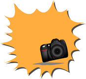 DSLR Camera. Isolated DSLR camera from front side with lens and built in flash Stock Photo