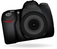 DSLR Camera. Isolated DSLR camera from front side with lens and built in flash Stock Image