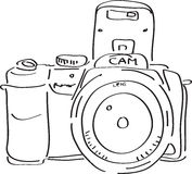 DSLR Camera. Outlined illustration of an digital SLR camera Royalty Free Stock Photo
