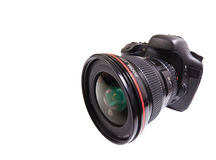 DSLR camera. Isolated, black DSLR camera with lens Stock Photography