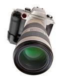 The DSLR Camera. Professional DSLR camera with teleobjective Royalty Free Stock Images