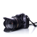 DSLR camera. Modern professional DSLR camera isolated on white stock photos