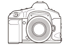 DSLR Camera. Outlined illustration of an digital SLR camera stock illustration