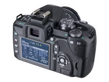 DSLR Camera back with LCD screen. DSLR Camera back on white with LCD screen royalty free stock image