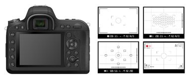 DSLR camera Viewfinder. DSLR camera back side vector illustration and viewfinder grid background set Stock Photography