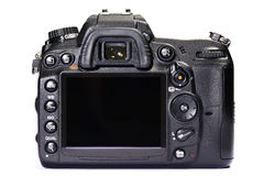 DSLR camera back view white isolated Royalty Free Stock Image