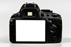 DSLR Camera with blank screen for placement. DSLR (Digital Single Lens Reflex) Camera with all logo and text removed. Blank screen for photo or text placement stock photos