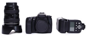 DSLR camera body, lens and flash Stock Photography