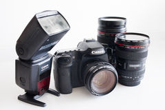 Dslr  camera body and lenses Stock Images