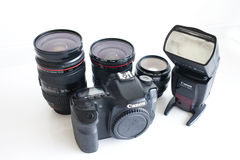 Dslr  camera body and lenses Royalty Free Stock Photos
