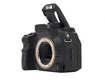 Dslr camera body with opened flash isolated Stock Image