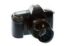 DSLR camera with a broken lens Stock Photo