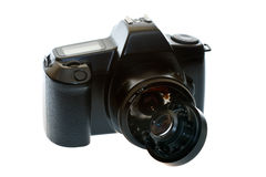 DSLR camera with a broken lens. On a white background Royalty Free Stock Images