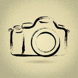 DSLR Camera with Brushwork. DSLR Camera Illustration with Brushwork Stock Image