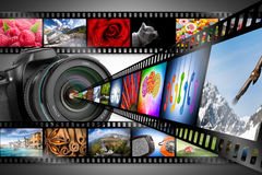 Dslr camera concept. Dslr camera with film strips Royalty Free Stock Photo