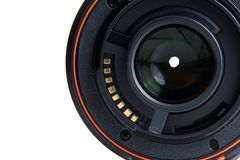 DSLR Camera. Details of Digital Single Lens Reflex on white background Royalty Free Stock Images