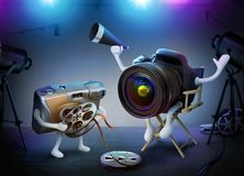 DSLR Camera Director And Throwaway Assistant On A Movie Set. Camera Director And Throwaway Assistant On A Movie Set royalty free illustration