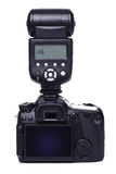 DSLR camera with flash Stock Photography