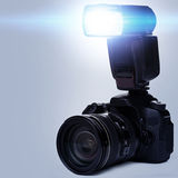 DSLR camera with flash Stock Photo