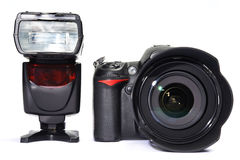 DSLR camera and flash Royalty Free Stock Image