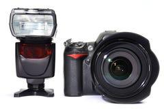 DSLR camera and flash Royalty Free Stock Image