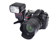 DSLR camera and flash Stock Image