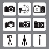 DSLR Camera, flash, tripod, monopod in vector icon Stock Photography