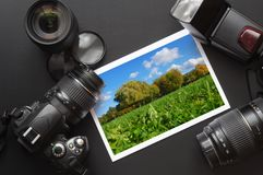 Dslr camera and image Royalty Free Stock Images