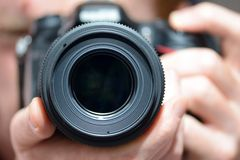 DSLR camera lens. In black color Stock Photos