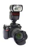 DSLR camera, lens and flash. A set of photographer. DSLR camera, lens and flash Royalty Free Stock Photo