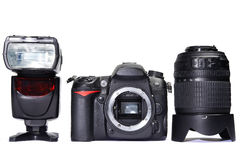 DSLR camera, lens and flash Royalty Free Stock Photos