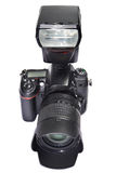 DSLR camera, lens and flash Royalty Free Stock Image