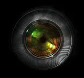 DSLR camera lens, front view. Black background Stock Photo