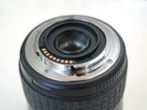 DSLR camera lens mount with contacts royalty free stock photos