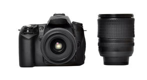 DSLR camera and lens Royalty Free Stock Images