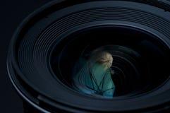 DSLR Camera lense. On black background Stock Photography