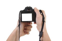 Dslr camera in male hands. copyspace Stock Photography