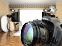 DSLR camera in photo studio with lighting equipment, softbox and Stock Photos