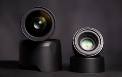 Prime and zoom lens on dark background Royalty Free Stock Photo