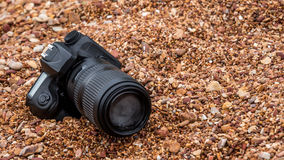 DSLR camera on stone beach wet from water sea wave Stock Photography