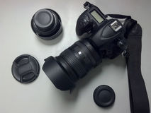 DSLR Camera Top View With Lens And Accessories Royalty Free Stock Photos