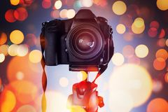 DSLR camera on tripod. Photography and videography concept royalty free stock image