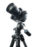 DSLR camera on tripod Royalty Free Stock Images