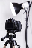 DSLR camera on tripod Royalty Free Stock Photo