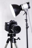 DSLR camera on tripod Stock Image