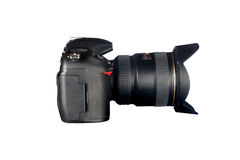 DSLR camera on white Royalty Free Stock Image